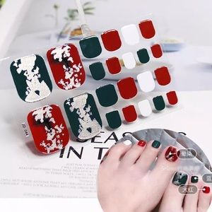 Red, White, & Green Toenail wrap nail wraps